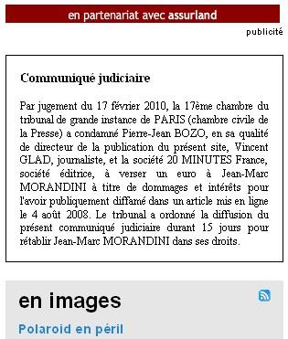 20minutes;fr condamné pour diffamation envers jean-Marc Morandini - 10/03/10