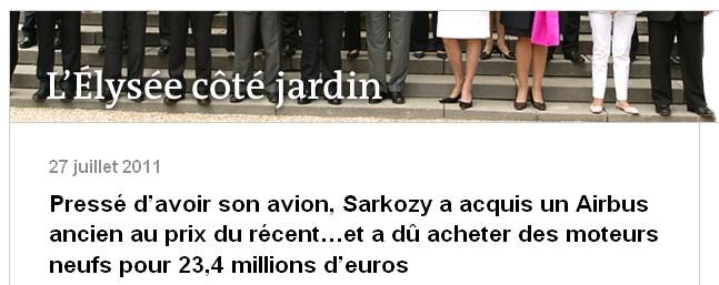 Air Sarko One - blog Arnaud leparmentier - LeMonde.fr - 27/07/11