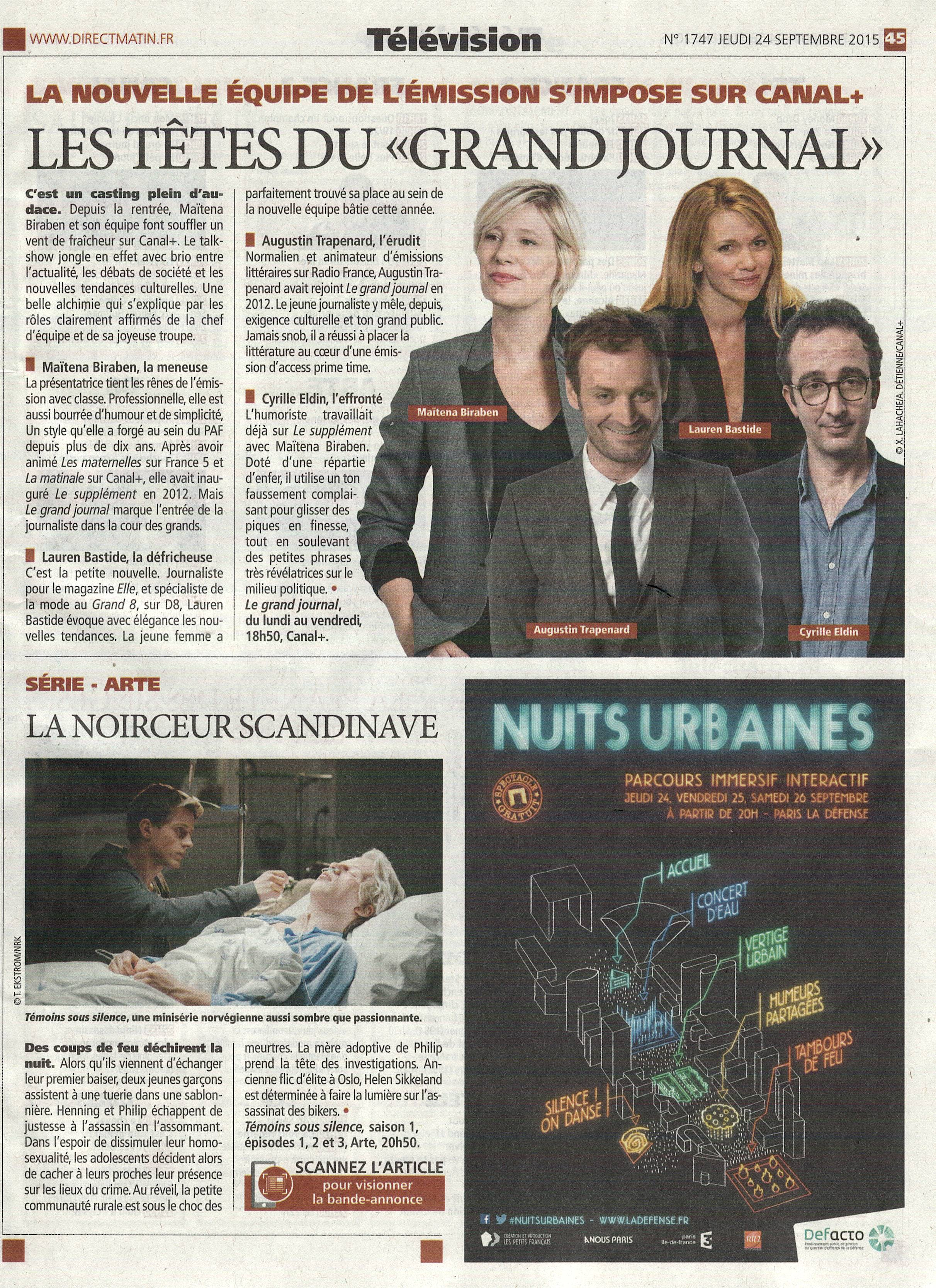 Article Direct Matin - Grand journal s'impose