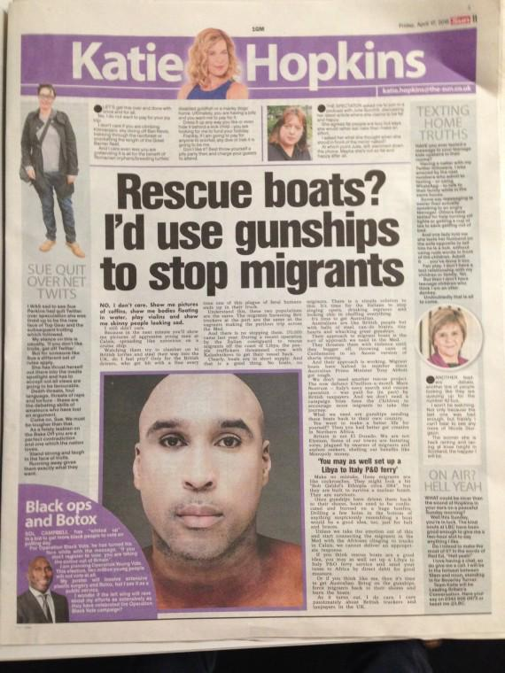 Article Hopkins - The Sun - migrants mediterrannée