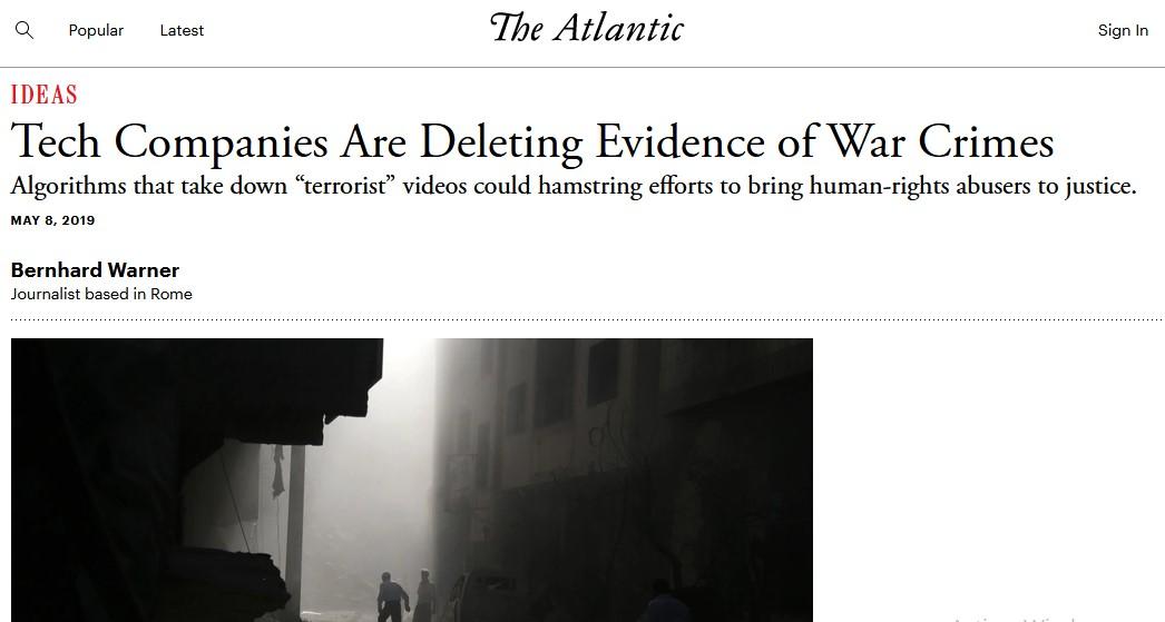 """""""Les entreprises de la tech effacent des preuves de crimes de guerre"""""""