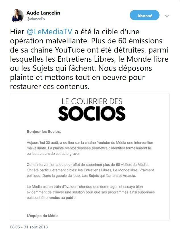 Aude Lancelin réagit à la suppression de contenus