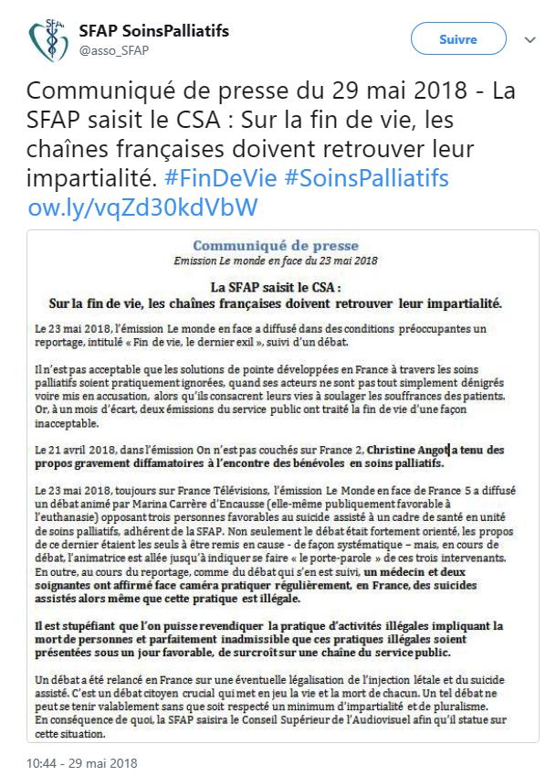 Communiqué du SFAP