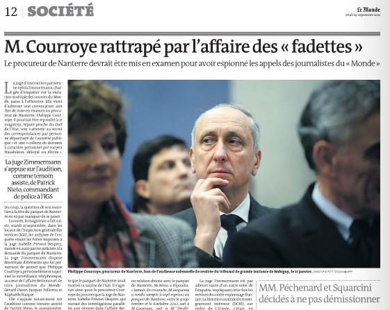 Courroye bientôt mis en examen - Le Monde - 28/09/11