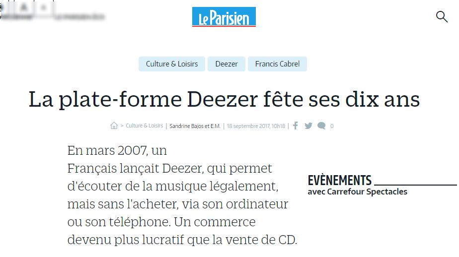 Deezer Le Parisien