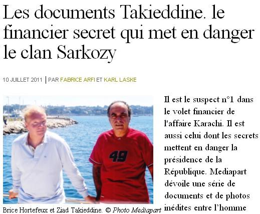 Documents Takieddine - photo Mediapart - 10/07/2011