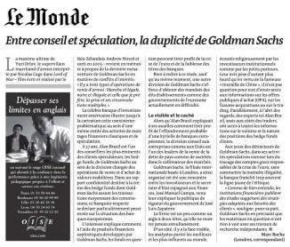 Double jeu de Goldman Sachs