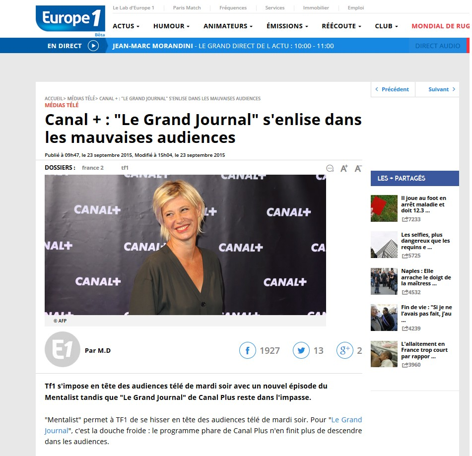 Europe 1 - Grand journal mauvaises audiences