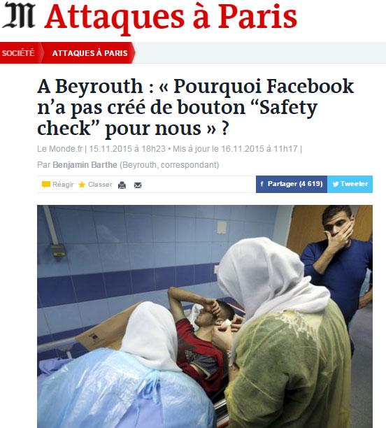Facebook Beyrouth Le Monde