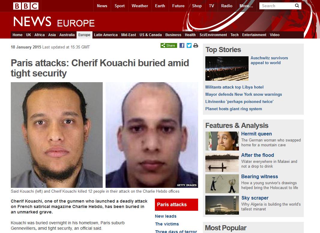 "Frères Kouachi : ""gunmen"" sur la BBC"