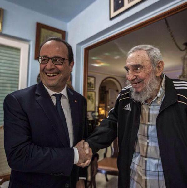 Hollande Fidel rires