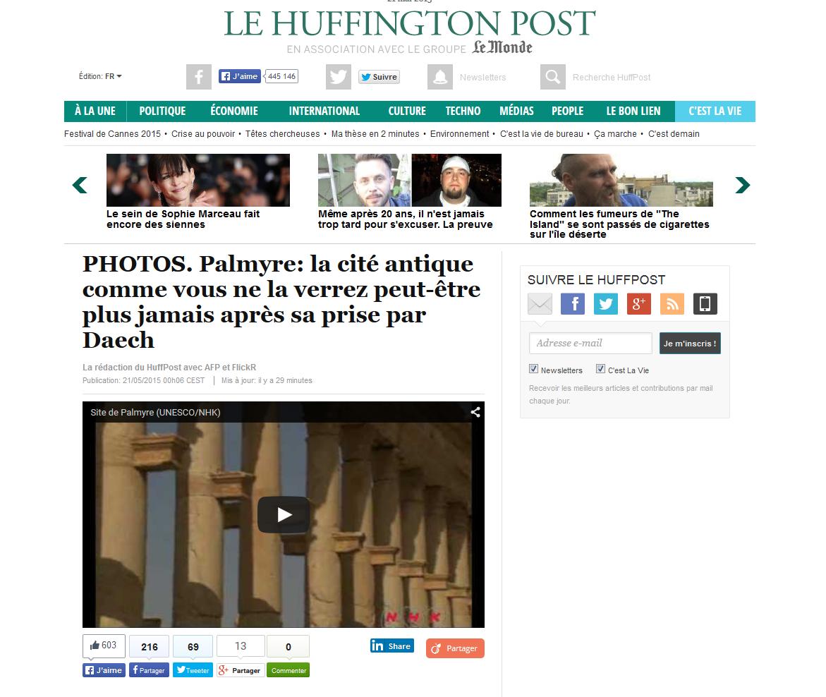 Huffington Post - Palmyre avant l'EI