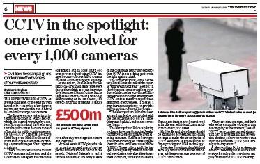 Independent, caméras de surveillance, Londres