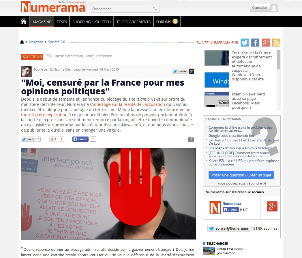 Interview fondateur Islamic-news Numerama