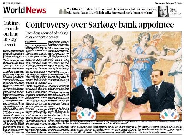 Irish Times, Sarkozy, Perol