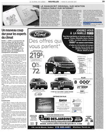 Journal du Quebec, climat
