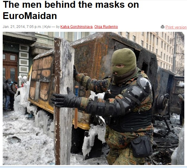 Kiev manifestants masqués, photo AFP
