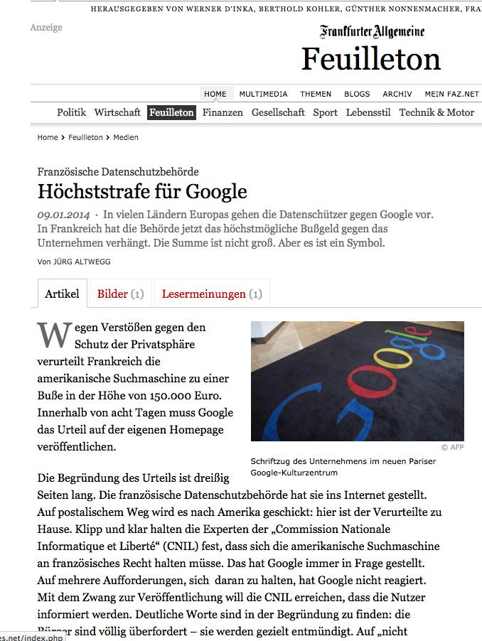 La CNIL contre Google dans la FAZ