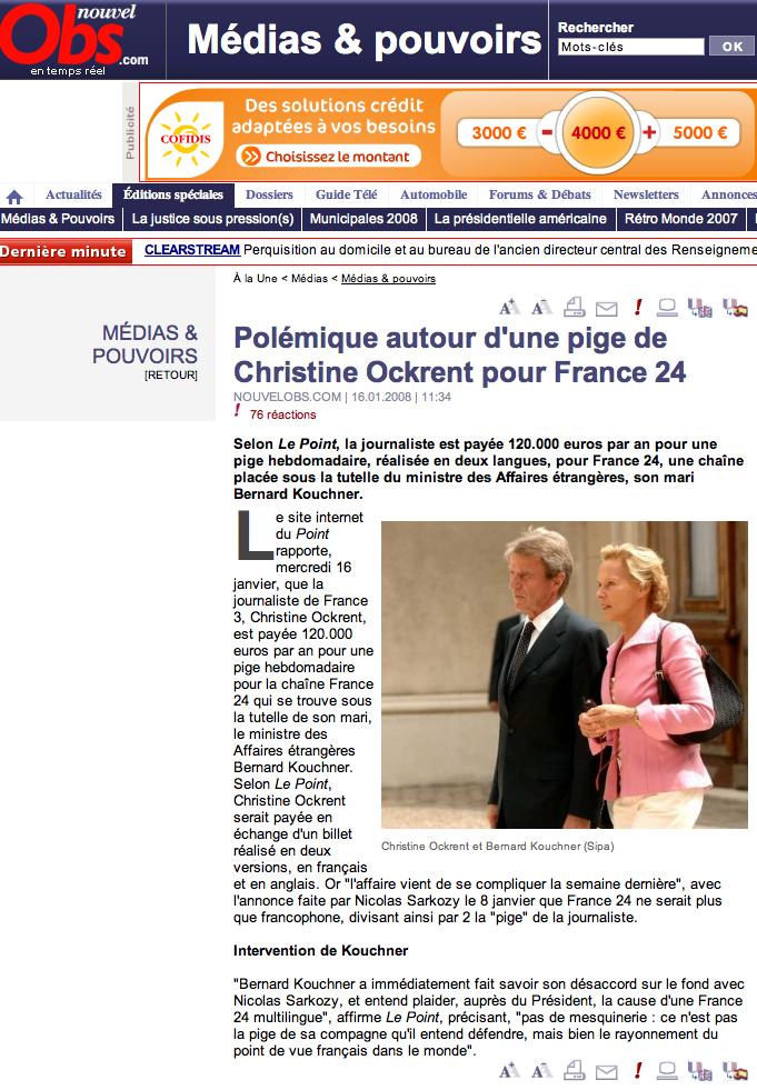 L'article du NouvelObs.com sur Ockrent et France 24