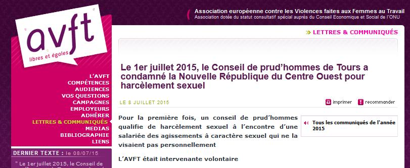 L'AVFT revient sur la condamnation de La NR pour harcèlement sexuel