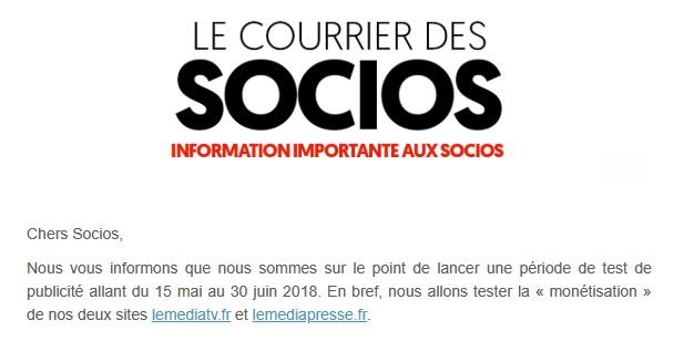 """""""Le courrier des socios"""" envoyé le dimanche 13 mai 2018"""