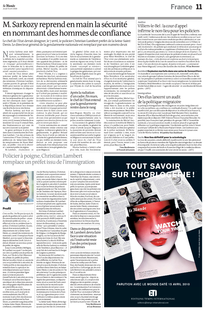 Le Monde, gendarmerie