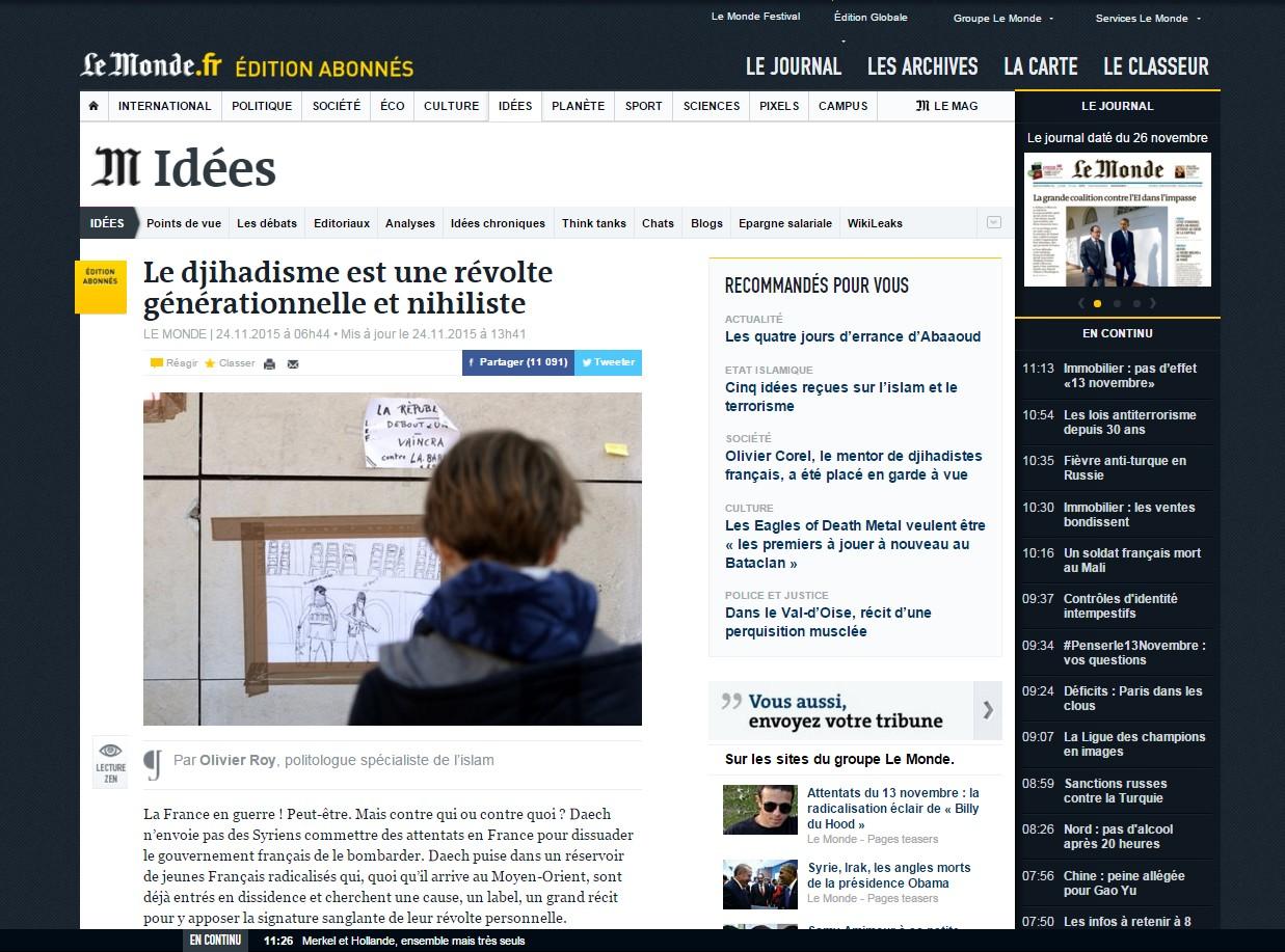 Le Monde Olivier Roy