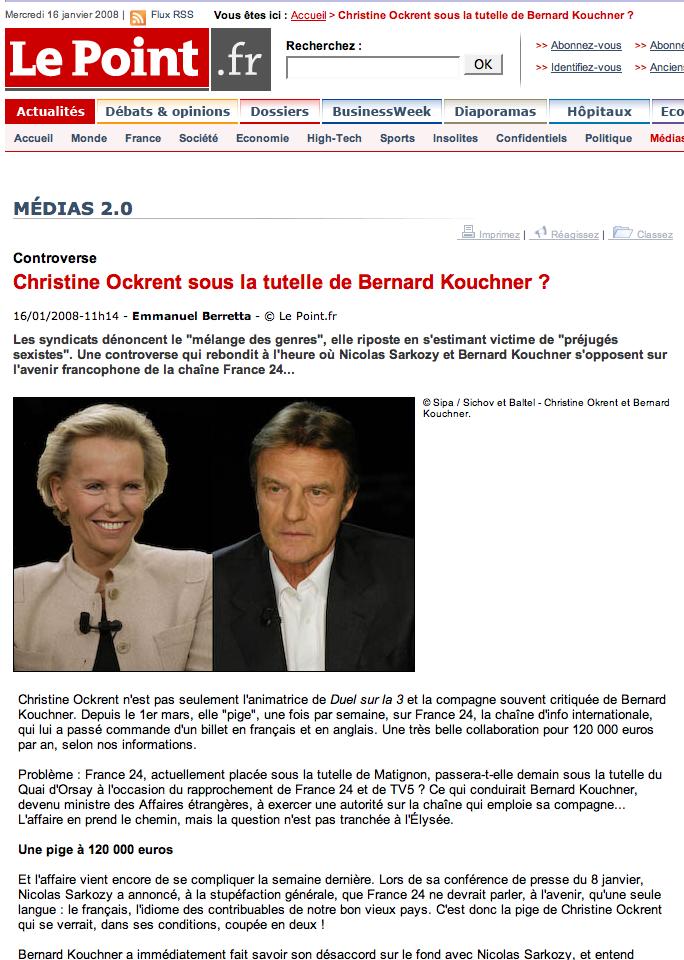 LePoint.fr, Ockrent et Kouchner