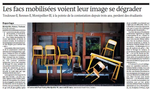Les facs mobilisées voient leur image se dégrader - Le Monde - 01/04/09