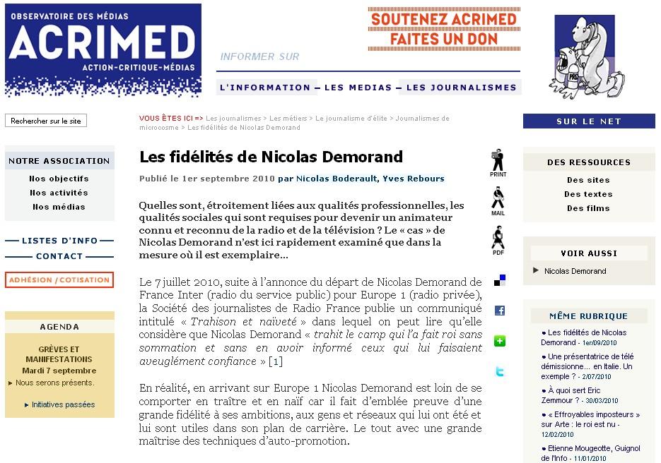 Les fidélités de Demorand par Acrimed