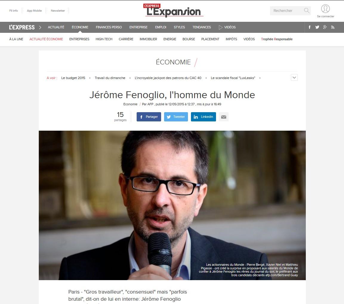 L'Expansion Fenoglio - Le Monde