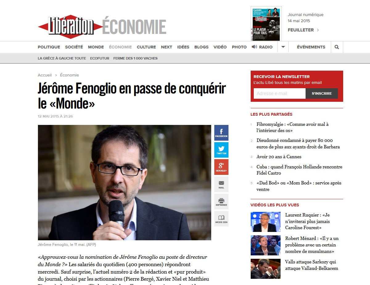 Libération - Fenoglio à la conquête du Monde