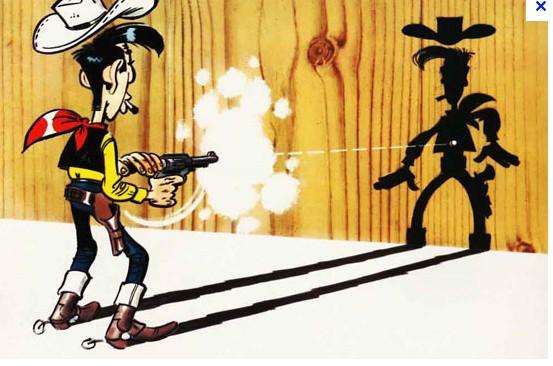 Lucky Luke plus vite que son ombre