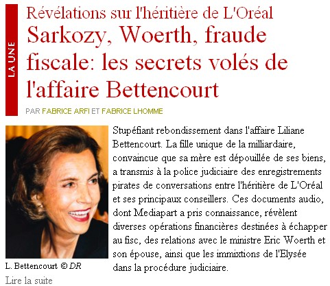 Médiapart - révélations sur Liliane bettencourt - 16/06/10