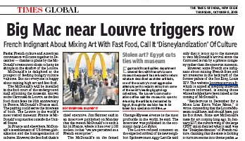 McDo, Louvre 8 oct, Times of India