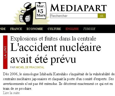 Mediapart - accident nucléaire prévu - 15/03/11