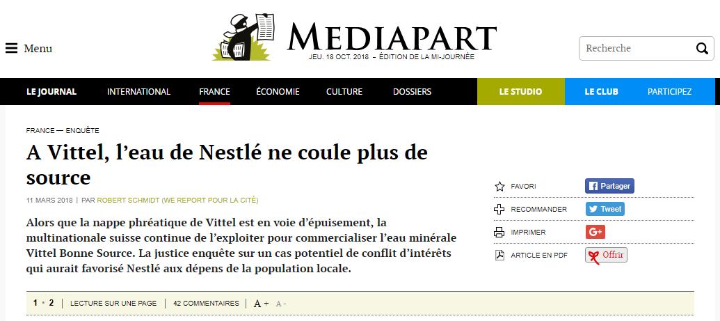 Mediapart Vittel Nestlé