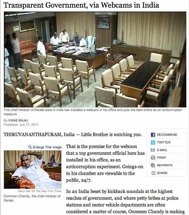 NY Times, Inde, webcam