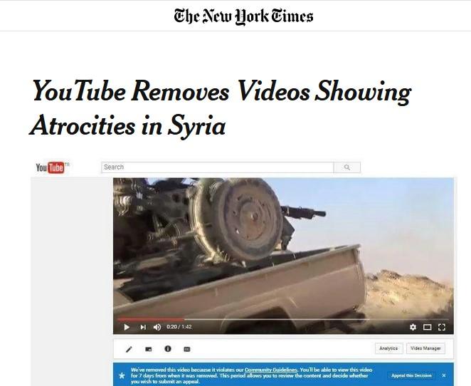 """""""Youtube efface les vidéos des atrocités syriennes"""""""