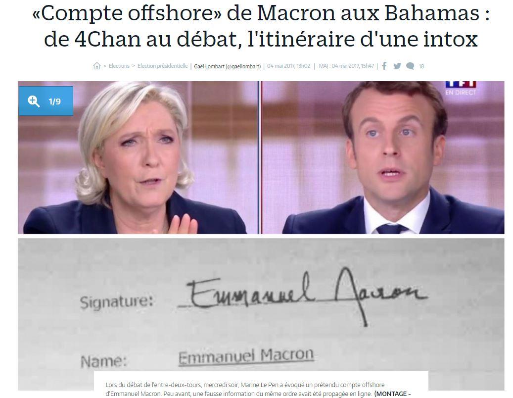 Parisien Macron Bahamas intox