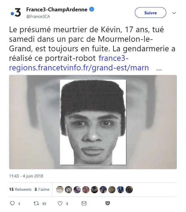 Portrait-robot du meurtrier présume de Kevin