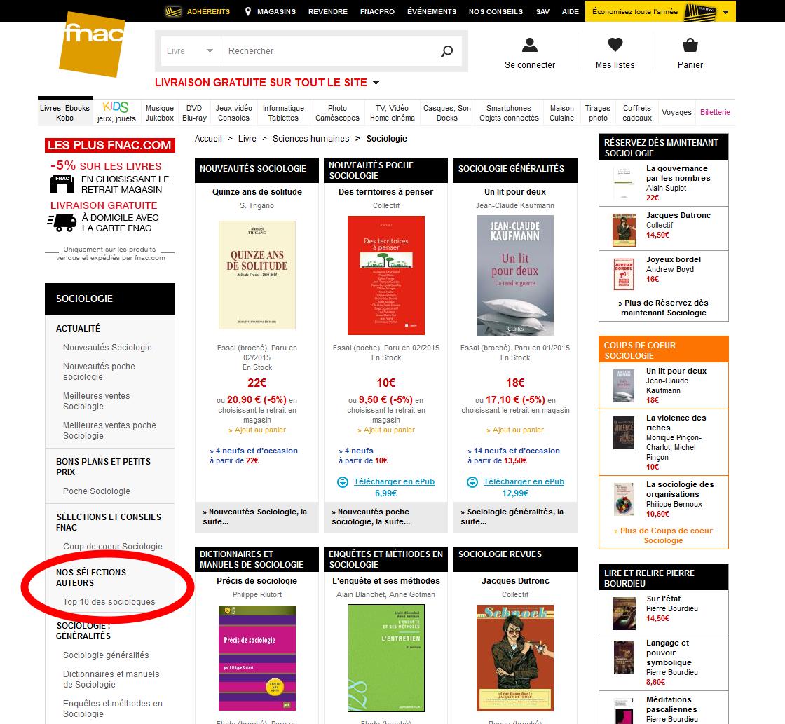 """Rubrique """"sélection auteurs"""" sur le site de la Fnac"""