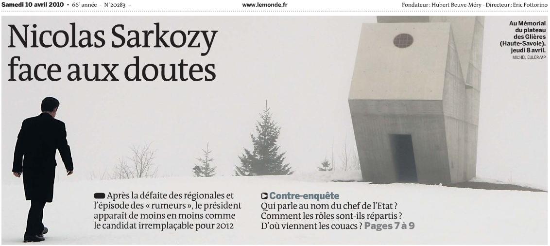 Sarkozy sur le plateau des Glières - Le Monde, 10/04/10