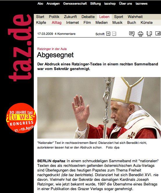 Taz, pape, Ratzinger
