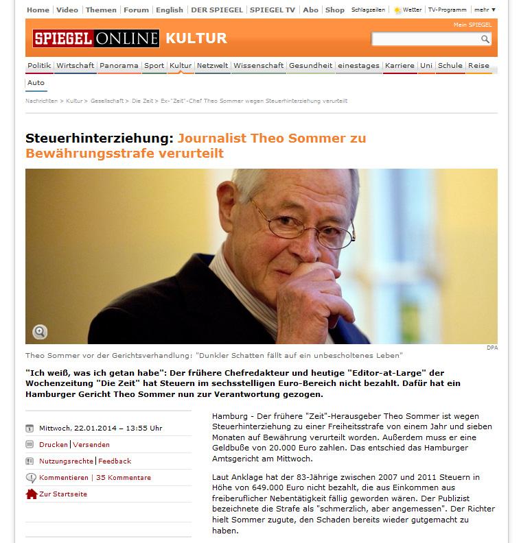Theo Sommer au tribunal sur le site du Spiegel