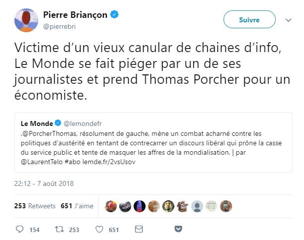 Tweet de Pierre Briançon