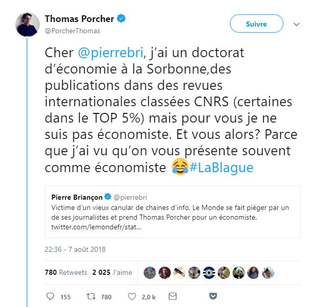Tweet de Thomas Porcher
