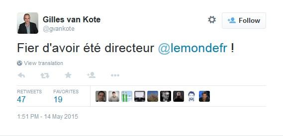 Tweet Van Kote - Fier d'avoir été directeur du Monde