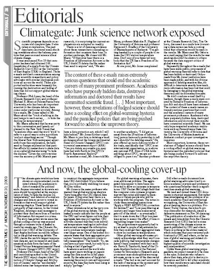 Washington Times, climategate