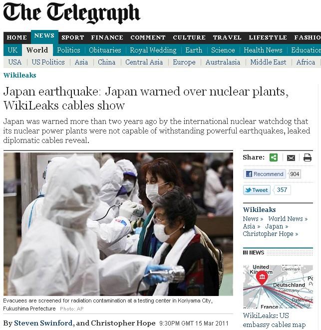 Wikileaks, risque nucléaire - The Guardian - 16/03/11